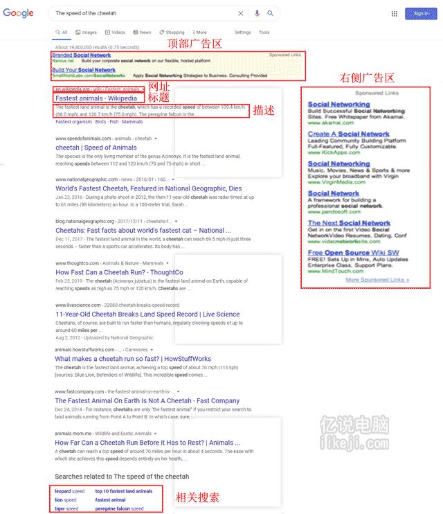 搜索引擎google的搜索结果界面