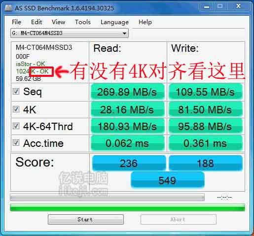 通过软件AS SSD Benchmark查看硬盘是否4K对齐