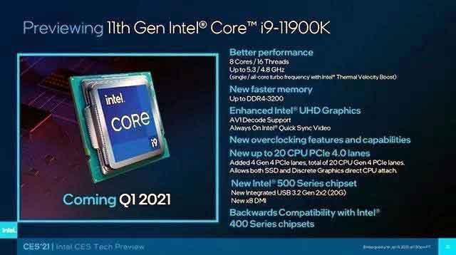 英特尔第11代酷睿桌面处理器i9-11900K