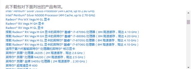 在页面下方看下这个驱动支持不支持自己的CPU